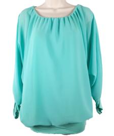 Zeegroene blouse met elastische band