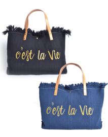 Canvas/linnen Shopper Cést la vie, in diverse kleuren