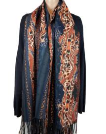 Blauwe sjaal met bruintinten