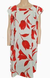 Linnen jurk, wit met rode tulpen