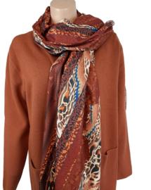 Roestbruine sjaal met diverse kleuren