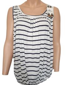 Mouwloze top / hemd wit met blauwe strepen