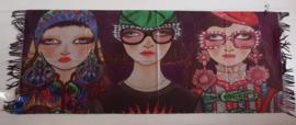 Sjaal met print van drie meiden
