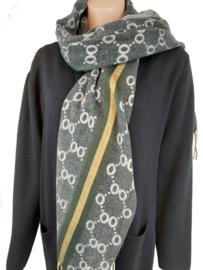 Grijze sjaal met print en groen-gele bies