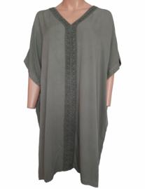 Ruimvallende tuniek-jurk, olijfgroen