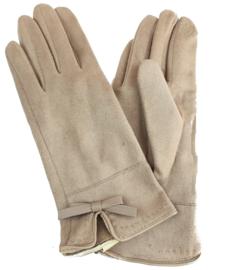Beige handschoenen met strikje