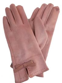 roze handschoenen met strikje