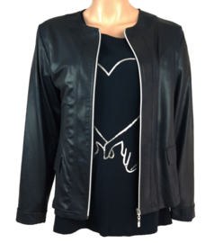 Leatherlook jack donkerblauw