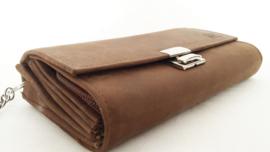 Koopmansebeurs / Horeca-portemonnee, bruin geruwd leer
