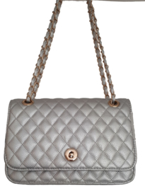 Quilted cross-over tas zilver met goud