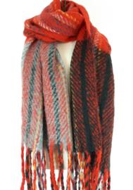 Dikke sjaal met o.a. rood
