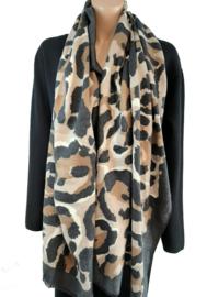 Zwart-grijze sjaal met panterprint