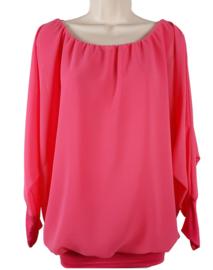 Fuchsiaroze blouse met elastische band