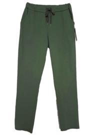 Groene stretch broek met koord