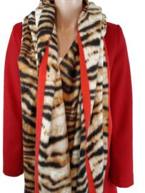 Sjaal met tijgerprint en rode bies
