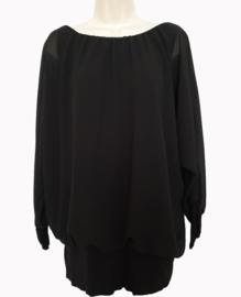 Zwarte blouse met elastische band