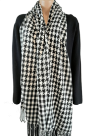 Sjaal met zwart-witte pied-de-poule ruit