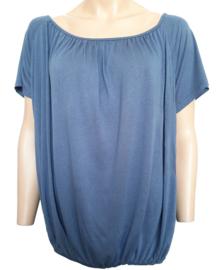 T-shirt met elastische band aan de onderzijde, jeansblauw