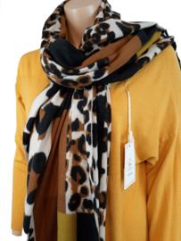 Sjaal met panterprint en bruin en geel tinten