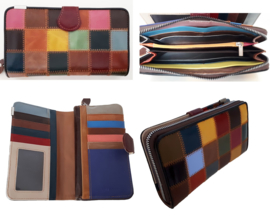 Lederen portemonnee met kleurtjes (groot model)