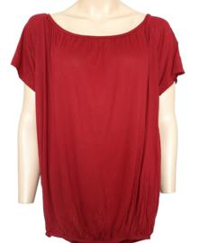 T-shirt met elastische band aan de onderzijde, bordeauxrood