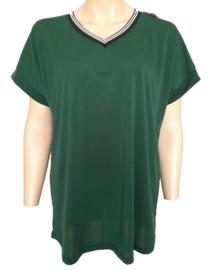 T-shirt met V-hals, donkergroen