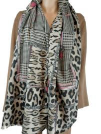 Camel sjaal met roze en fuchsia