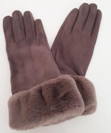 Taupe handschoenen met (nep)bont