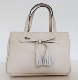 Elegant beige lederen tasje met verstelbare schouderband