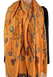 Goudgele sjaal met mooie print