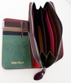 Lederen portemonnee met kleurtjes (klein model)