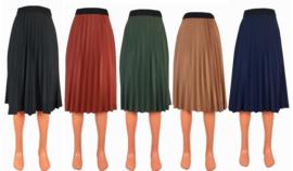 Plissé rok midi in 5 verschillende kleuren