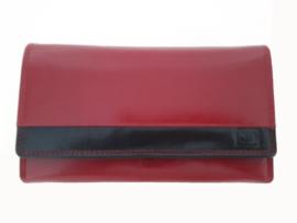 Lederen portemonnee met knipsluiting, rood met zwart