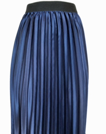 Plissé rok, donkerblauw met metallic glans