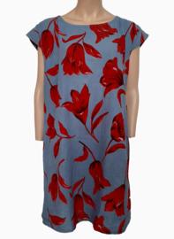 Linnen jurk, jeansblauw met rode tulpen