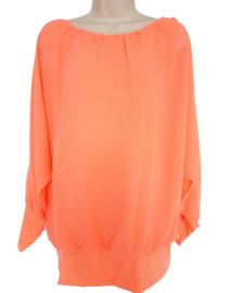 Perzik kleurige blouse met elastische band