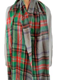 Geruite sjaal, rood-groen-grijs