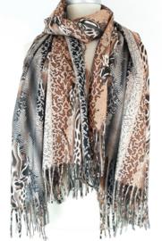 Sjaal met bruin en grijze dierenprints