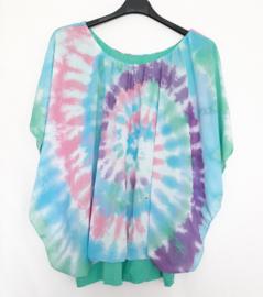 Tie Dye blouse mint met pastelblauw, roze en paars
