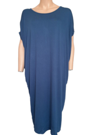 Tuniek-jurk met V-nek, jeansblauw