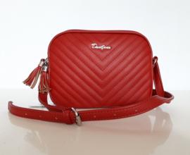 Rood schoudertasje met twee aparte ritsvakken