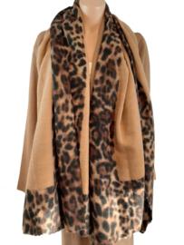 Camel sjaal met panterprint