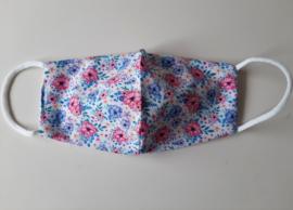 Katoenen mondkapje, voorgevormd, bloemenprint