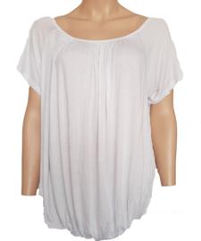 T-shirt met elastische band aan de onderzijde, wit
