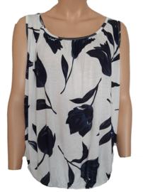 Mouwloze top / hemd, wit met blauwe tulpen