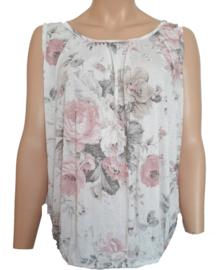 Mouwloze top / hemd, wit met pastelbloemen