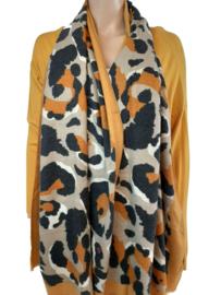 Okergele sjaal met panterprint