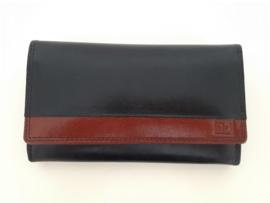 Lederen portemonnee met knipsluiting, zwart met bruin