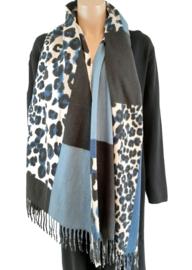 Zwart met jeansblauwe sjaal