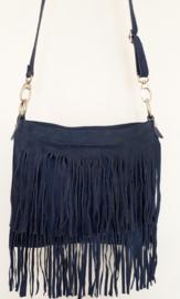 Suede franje tas jeansblauw